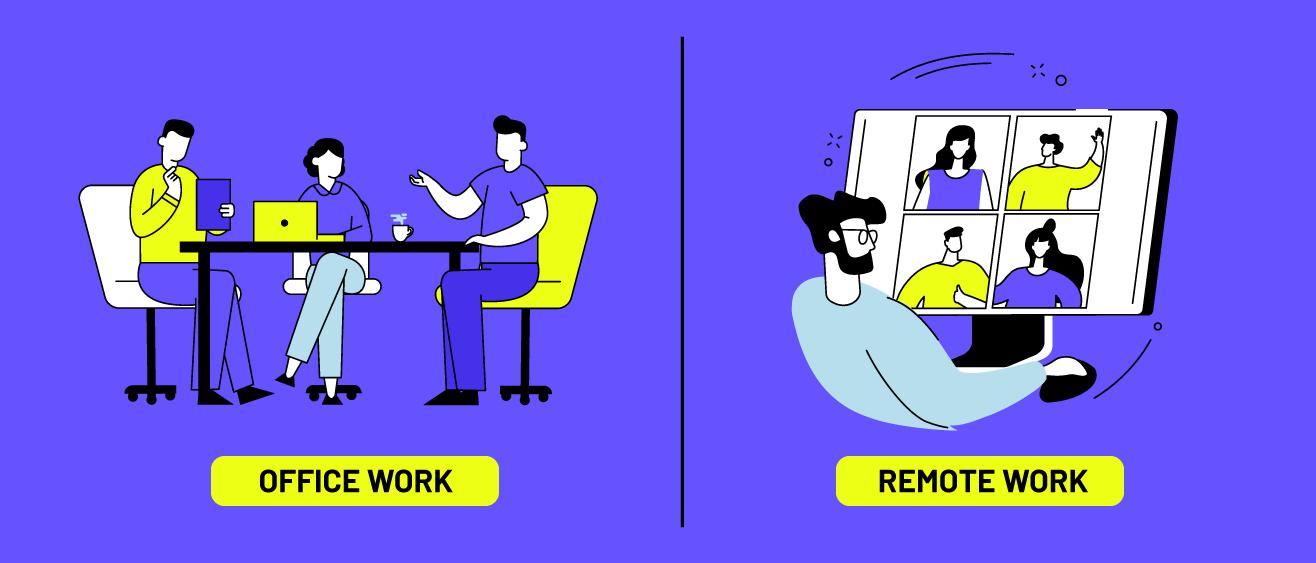 office work vs. remote work