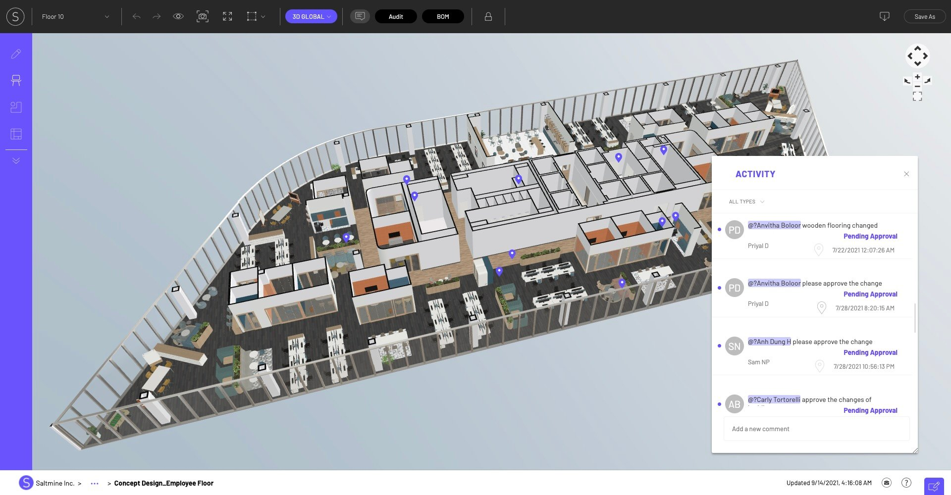 3D view with approvals